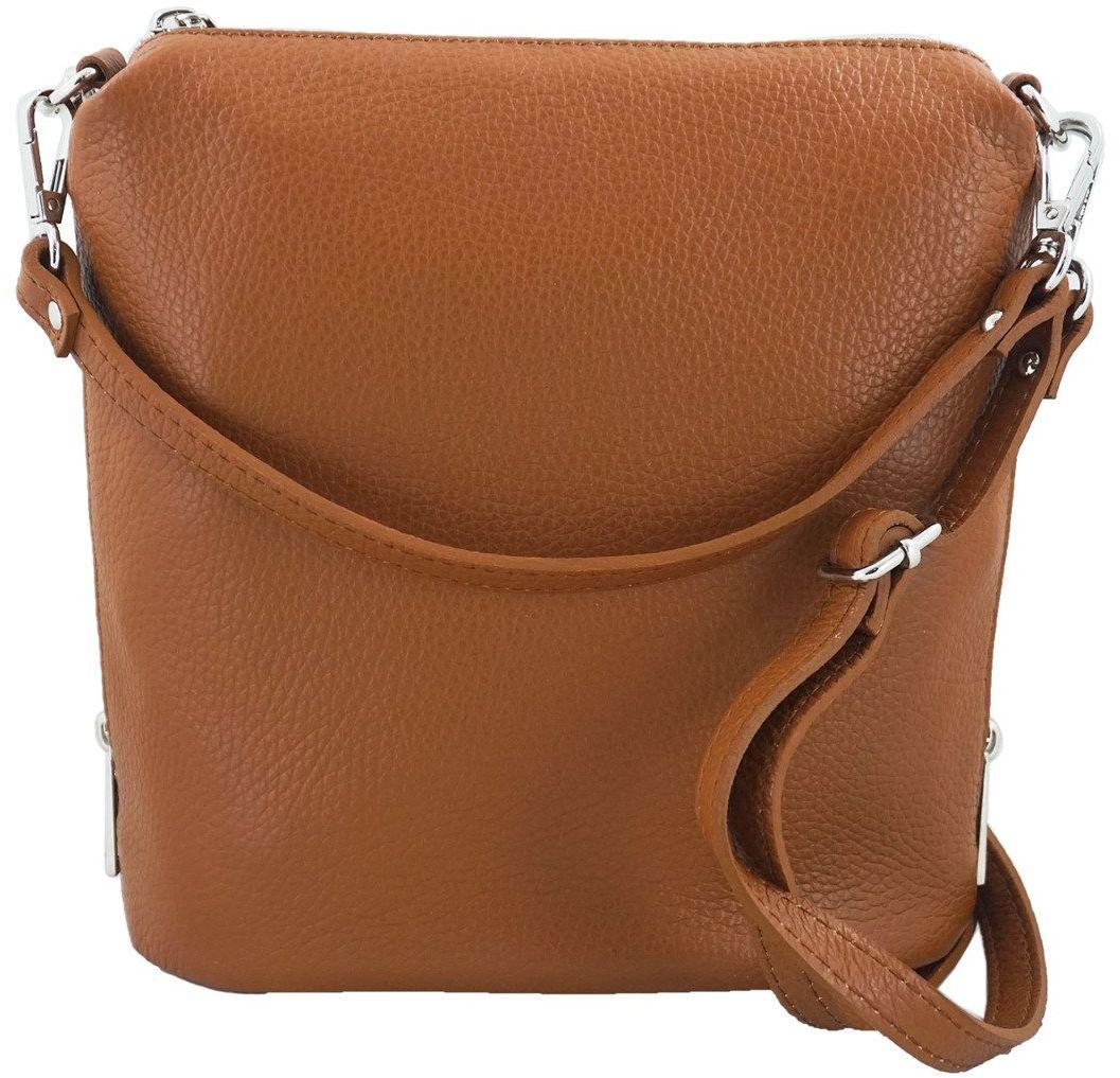 Mała torebka listonoszka skórzana - Brązowa jasna - Brązowy jasny