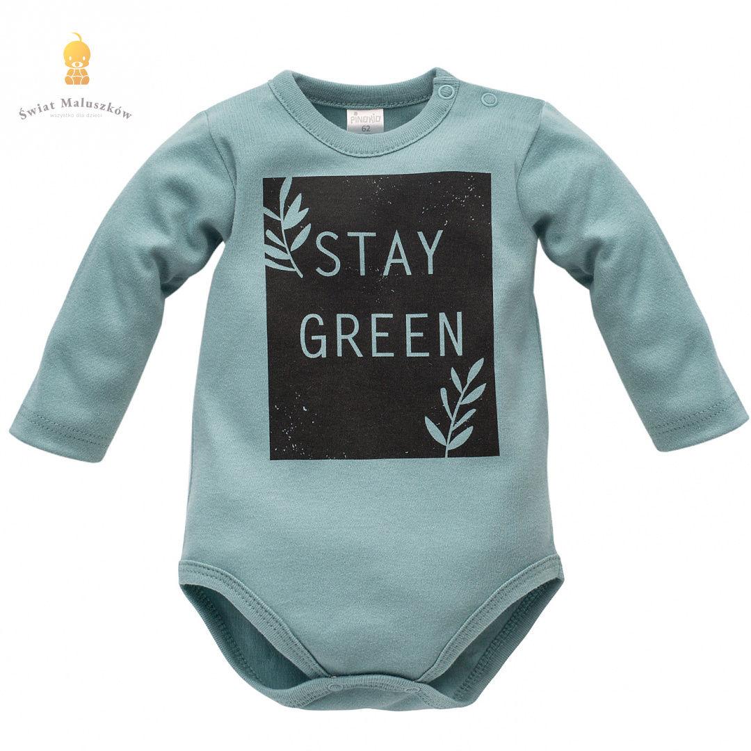 Body z długim rękawem Stay Green turkusowe