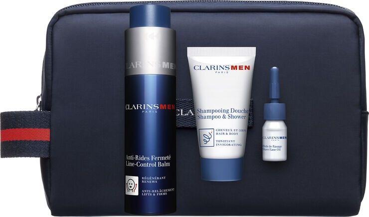 Clarins Men Zestaw balsam ujędrniający 50ml + żel pod prysznic 30ml + kosmetyczka + olejek do golenia - 3ml