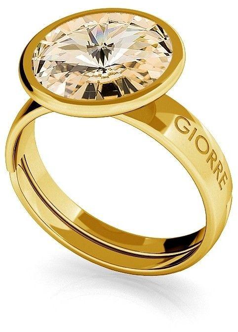 Srebrny pierścionek Swarovski rivoli 10mm, srebro 925 : Srebro - kolor pokrycia - Pokrycie żółtym 18K złotem, SWAROVSKI - kolor kryształu - Light Silk
