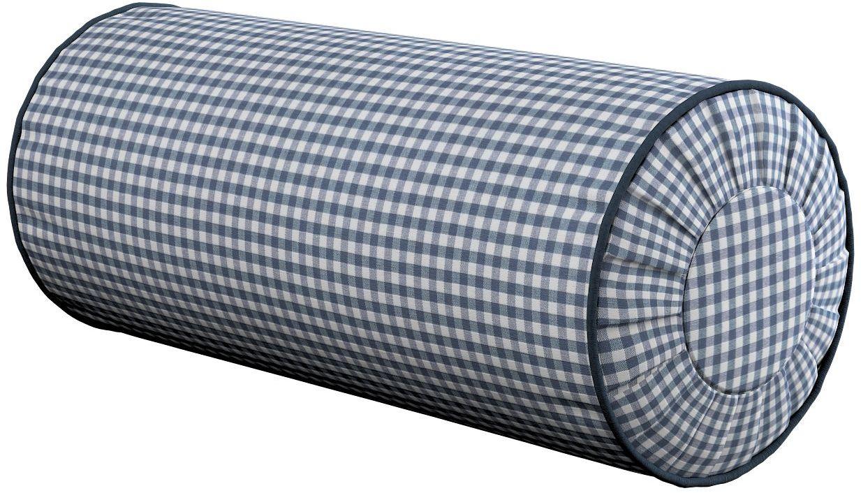 Poduszka wałek z zakładkami, granatowo biała krateczka (0,5x0,5cm), Ø20  50 cm, Quadro