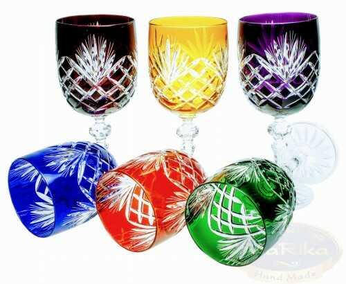 Kolorowe kryształowe kieliszki do wina 240ml Ananas 6 sztuk