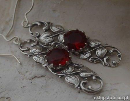 Zorro - srebrne kolczyki z rubinami