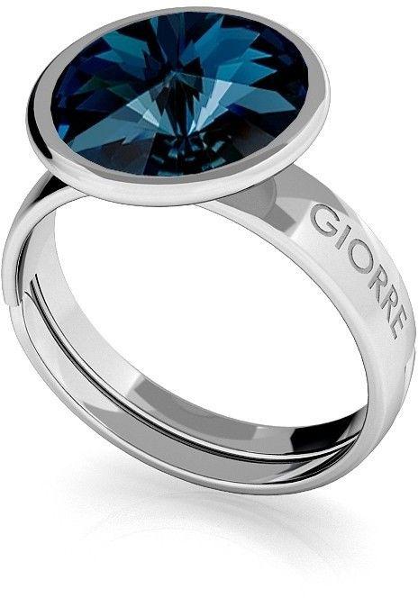 Srebrny pierścionek Swarovski rivoli 10mm, srebro 925 : Kryształy - kolor - Montana, Srebro - kolor pokrycia - Pokrycie platyną