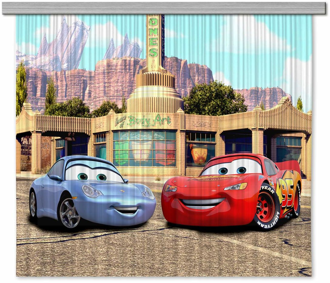 AG Design Disney Cars firanka/zasłona do pokoju dziecięcego, 2 części, tkanina, wielokolorowa, 180 x 160 cm
