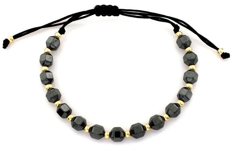 Złota bransoletka 585 sznurkowa z kamieniami naturalnymi