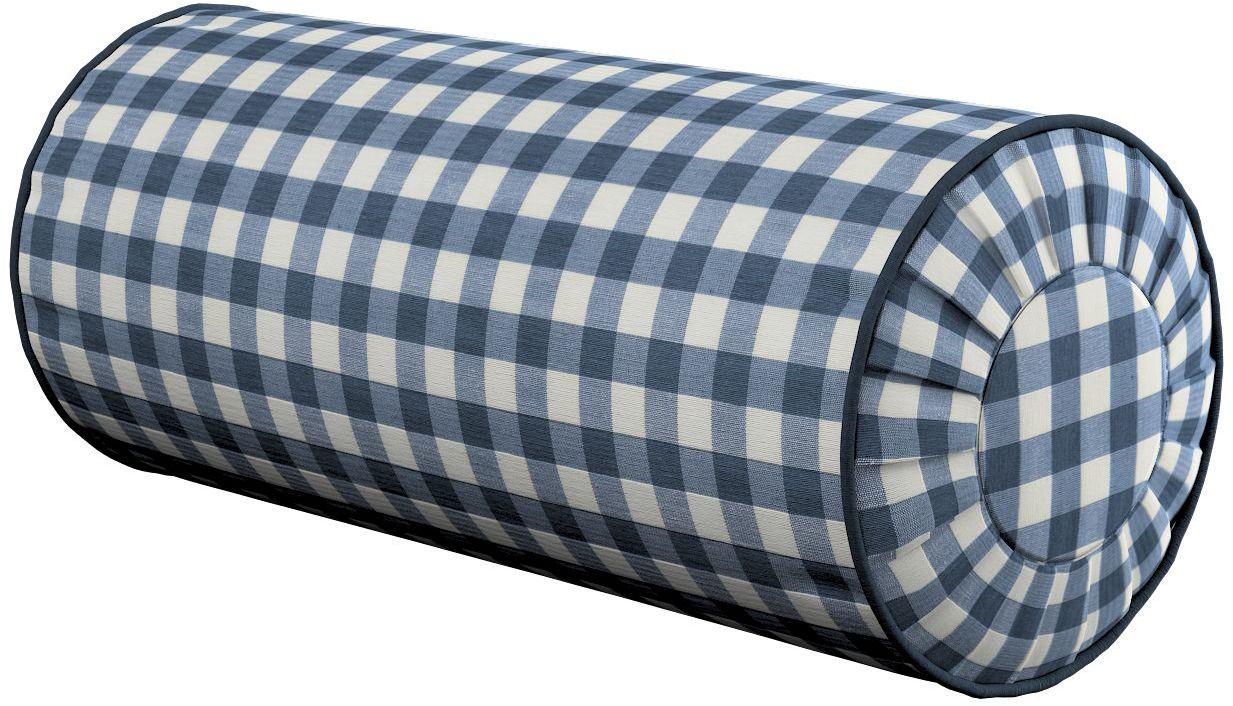 Poduszka wałek z zakładkami, granatowo biała kratka (1,5x1,5cm), Ø20  50 cm, Quadro