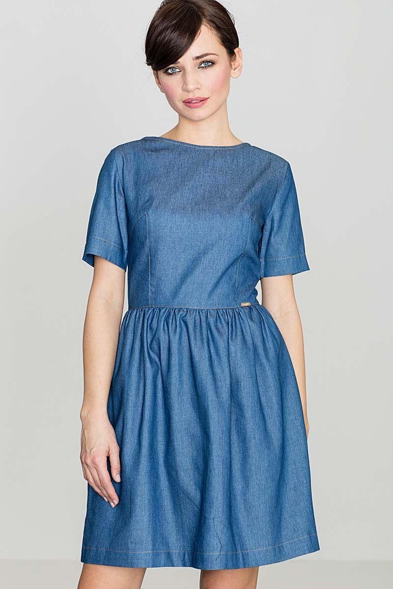 Niebieska bawełniana sukienka z krótkim rękawem