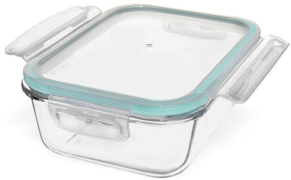 Pojemnik na żywność, szklany, hermetyczny, szczelny, z pokrywką, na klipsy, 22x16,5 cm