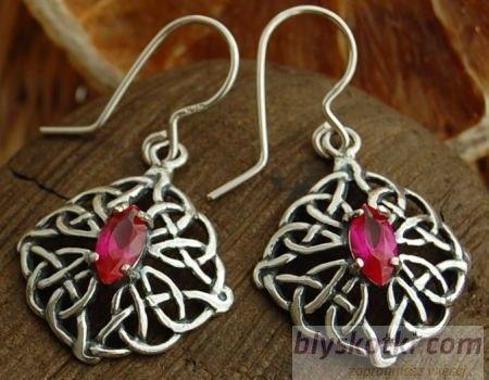 Galia - srebrne kolczyki z rubinem
