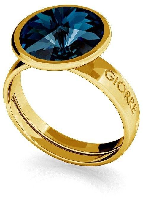 Srebrny pierścionek Swarovski rivoli 10mm, srebro 925 : Srebro - kolor pokrycia - Pokrycie żółtym 18K złotem, SWAROVSKI - kolor kryształu - Montana