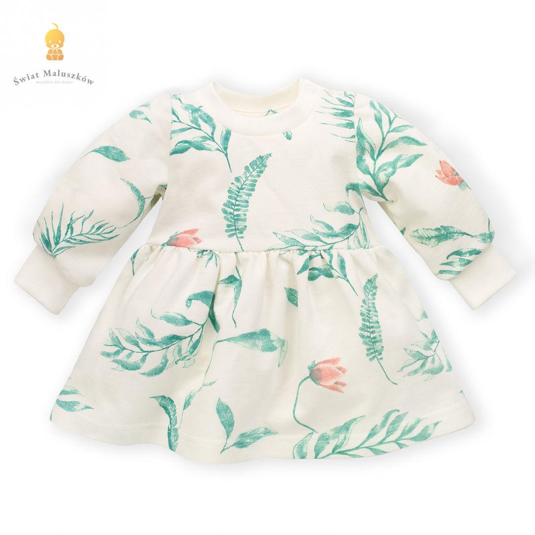 Sukienka ecru w liście Spring Light