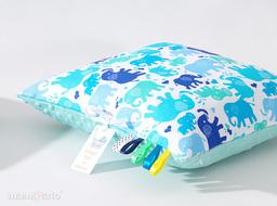 MAMO-TATO Poduszka Minky dwustronna 30x40 Słonie niebiesko-zielone / miętowy