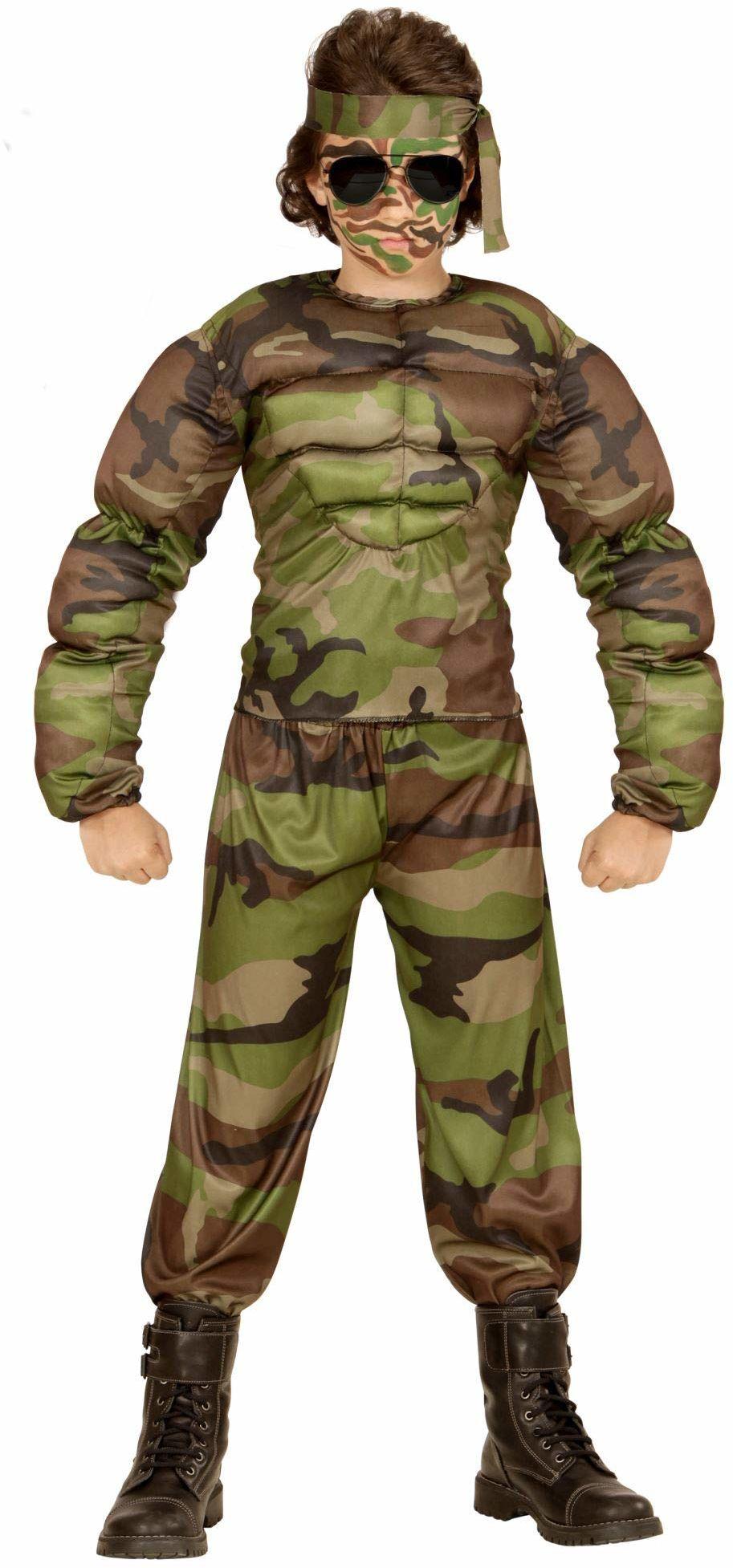 Widmann 00517 - kostium dziecięcy muskulaturalny żołnierz, koszulka mięśni, spodnie i opaska na czoło, zielony