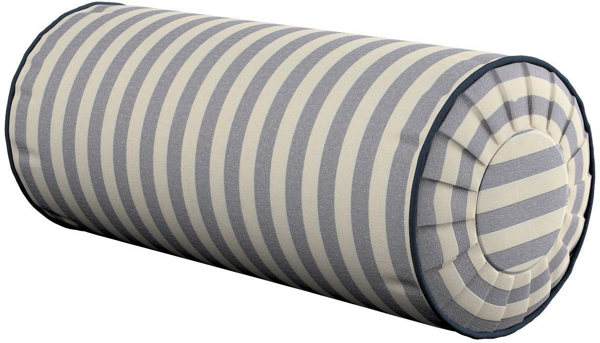 Poduszka wałek z zakładkami, granatowo białe pasy (1,5cm), Ø20  50 cm, Quadro