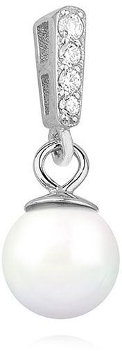 Elegancki rodowany srebrny wisior wisiorek perła perełka białe cyrkonie srebro 925 Z1112C