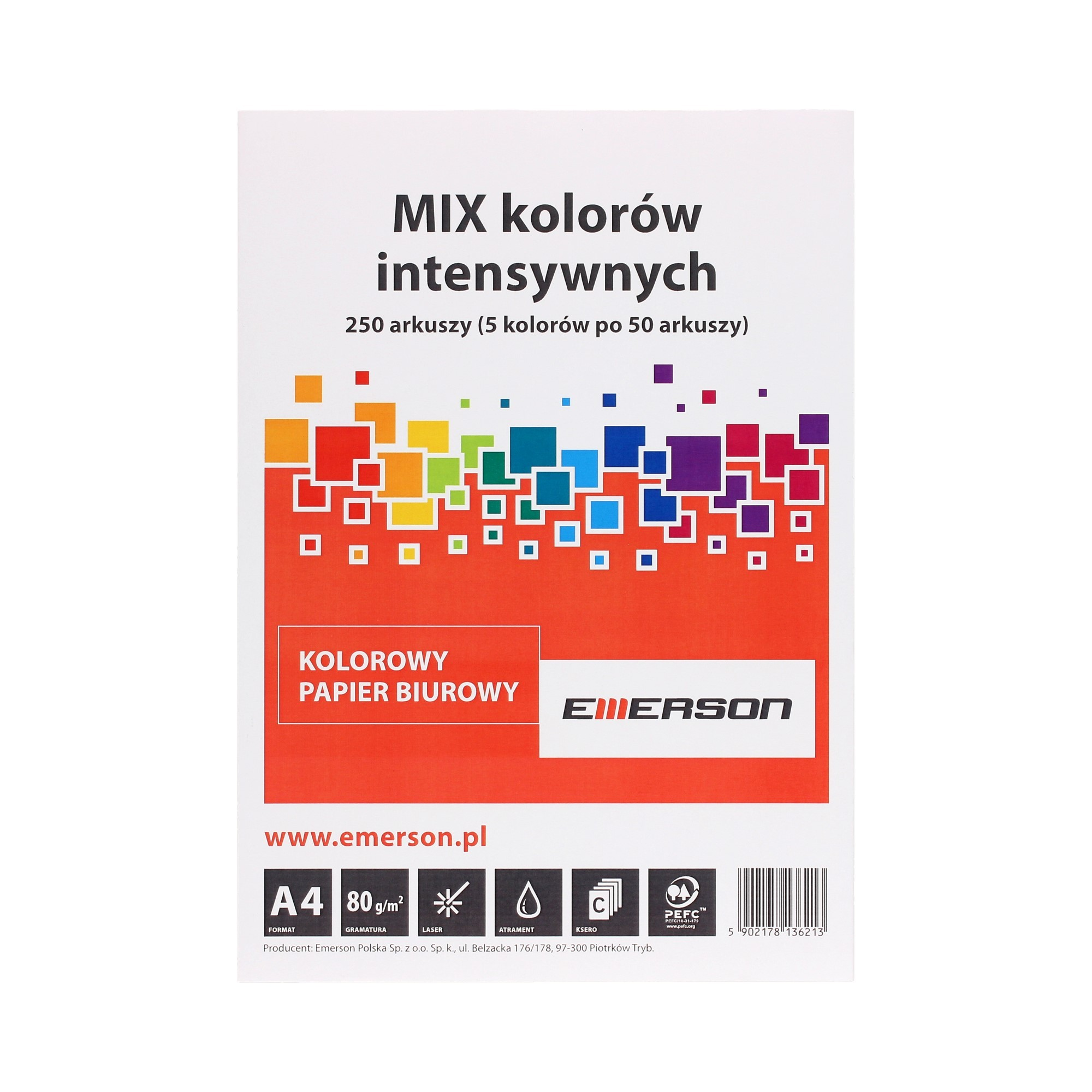 Papier ksero A4 80g mix kolorów intensywnych Emerson (250)