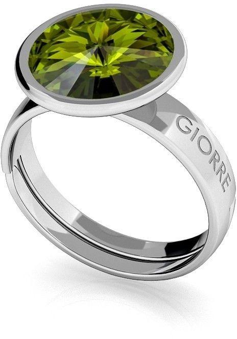 Srebrny pierścionek Swarovski rivoli 10mm, srebro 925 : Kryształy - kolor - Olivine, Srebro - kolor pokrycia - Pokrycie platyną