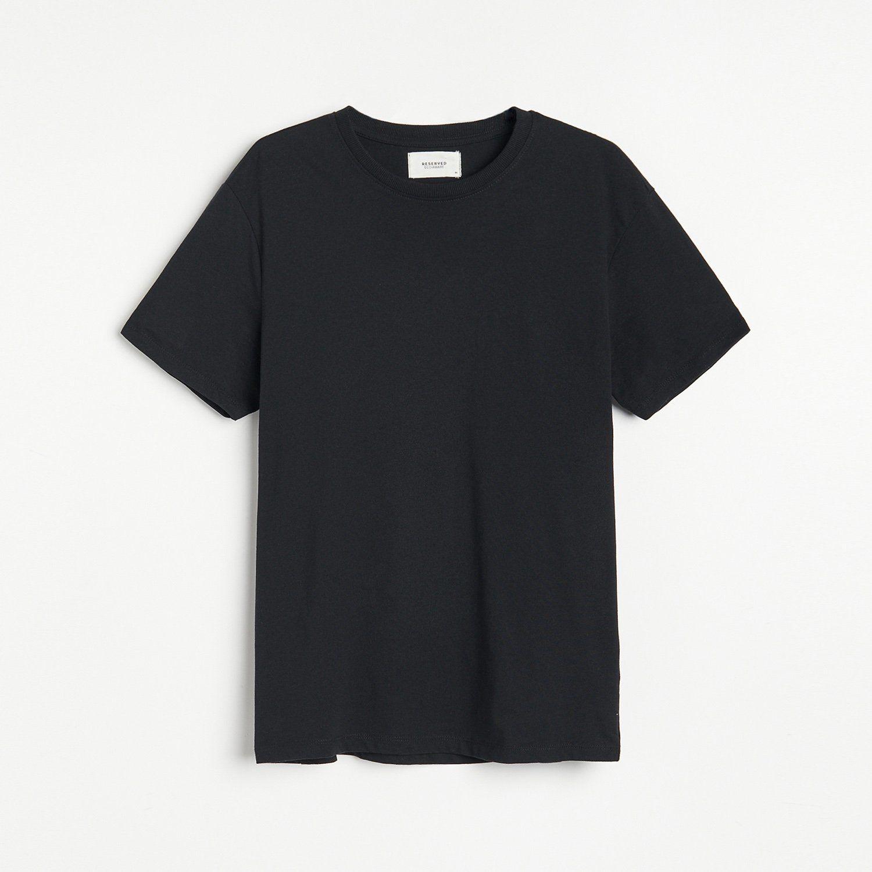 Reserved - Bawełniany t-shirt basic - Czarny
