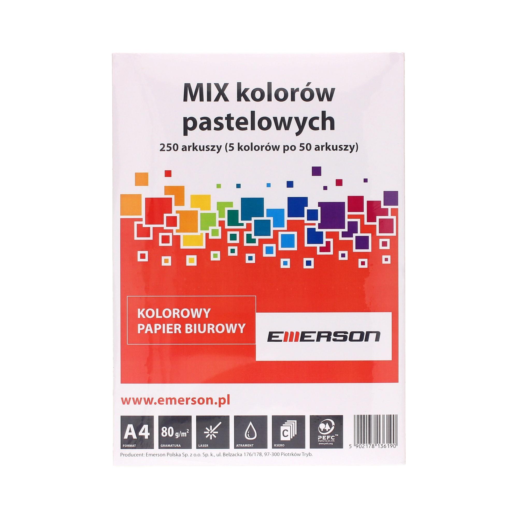 Papier ksero A4 80g mix kolorów pastelowych Emerson (250)