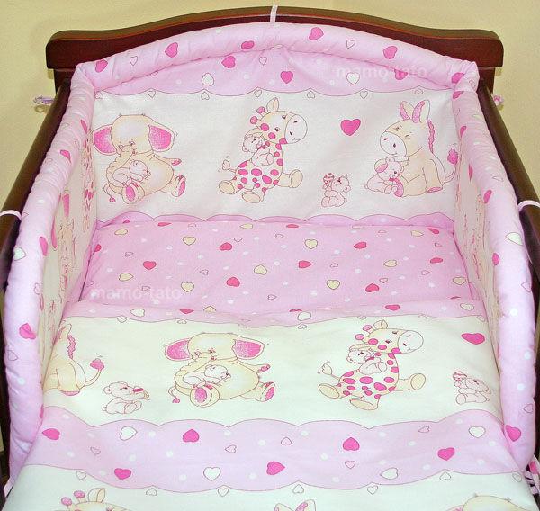 MAMO-TATO Komplet pościeli do wózka Różowe serduszka