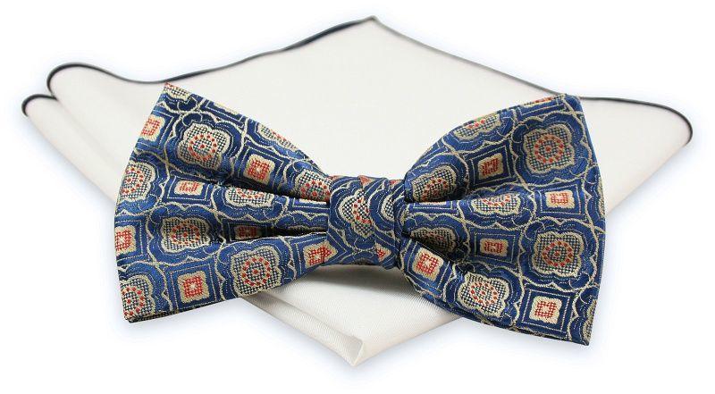 Niebieska Mucha z Białą Poszetką -CHATTIER- Męska, w Beżowo-Czerwony Wzór MUCH0517