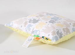 MAMO-TATO Poduszka Minky dwustronna 30x40 Słonie jasne / żółty