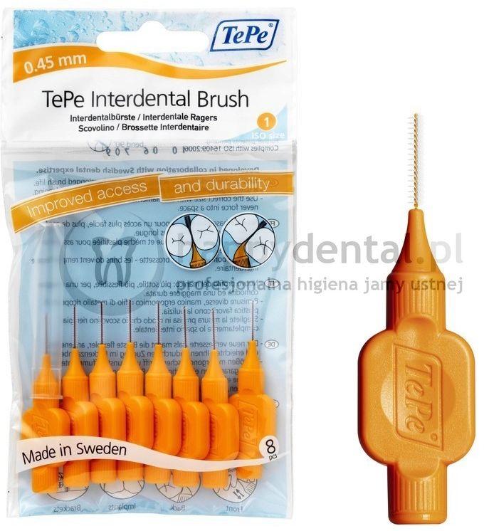 TEPE ID Original (0.45mm) pomara. 8szt. - zestaw szczoteczek międzyzębowych (szczoteczki w wersji ORIGINAL)