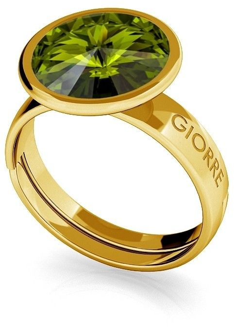 Srebrny pierścionek Swarovski rivoli 10mm, srebro 925 : Srebro - kolor pokrycia - Pokrycie żółtym 18K złotem, SWAROVSKI - kolor kryształu - Olivine