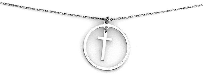 Srebrny naszyjnik 925 z krzyżykiem wpisanym w koło 1,85g