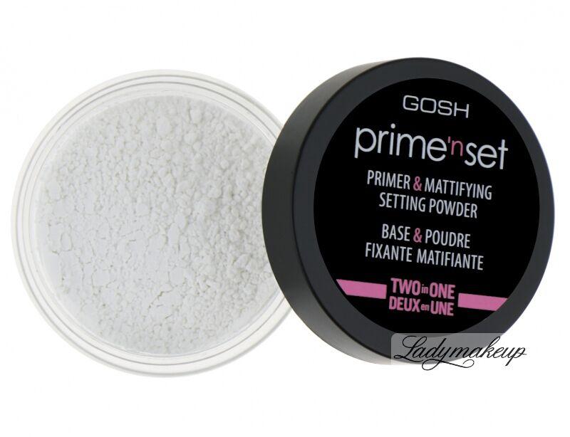 GOSH - Prime''n set PRIMER & MATTIFYING SETTING POWDER - Fiksująco-matujący puder/baza (transparentny 2w1)