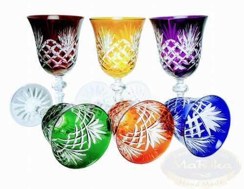 Kolorowe kryształowe kieliszki do wina 170ml Ananas 6 sztuk