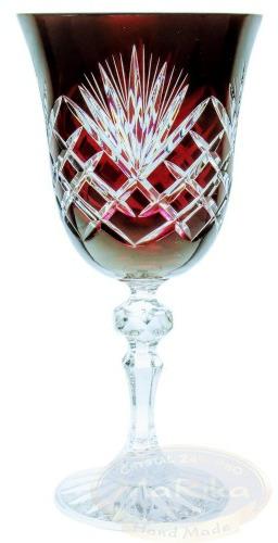 Rubinowe kryształowe kieliszki do wina 170ml Ananas 6 sztuk