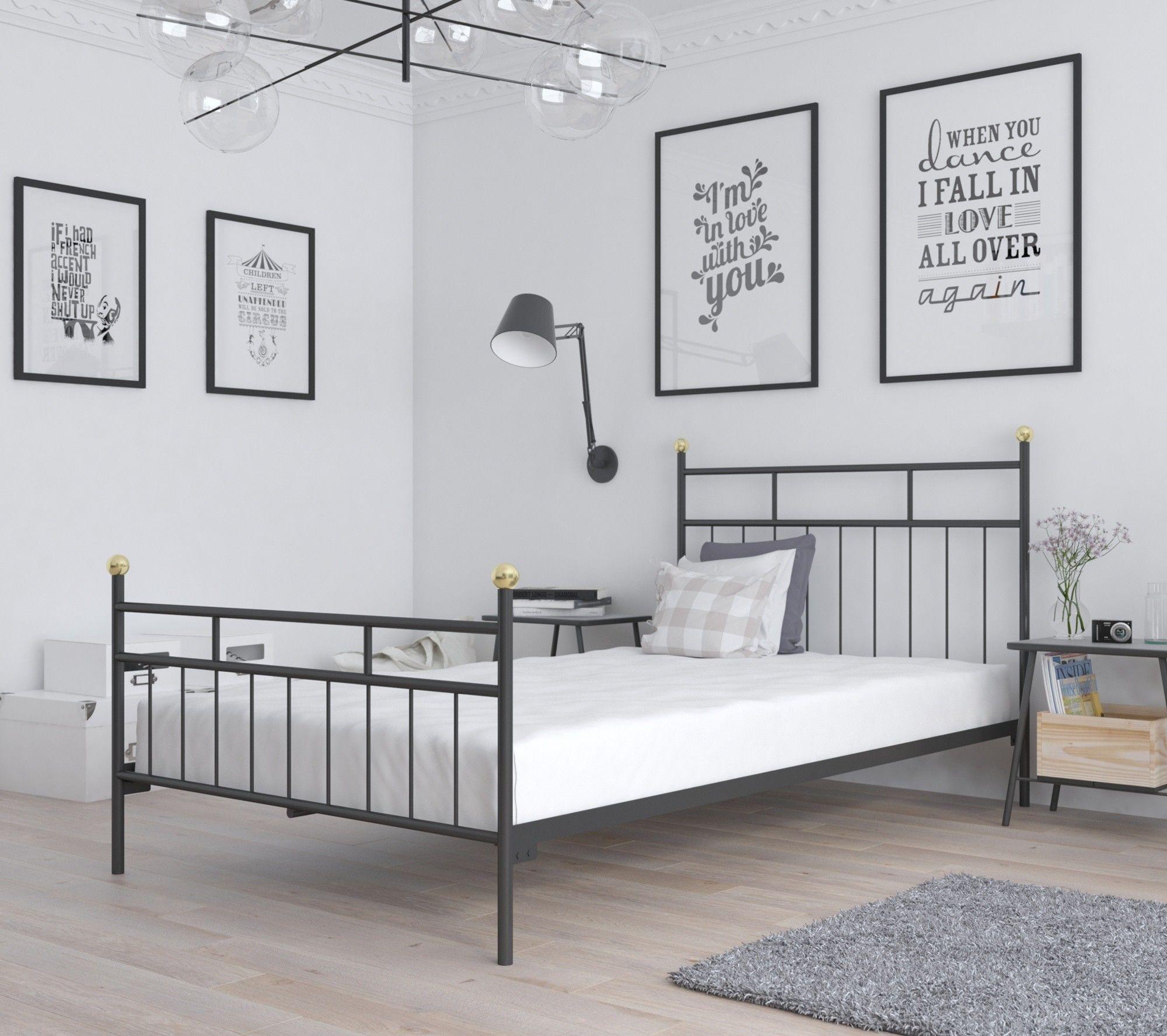 Łóżko metalowe sypialniane 90x200 wzór 27 ze stelażem
