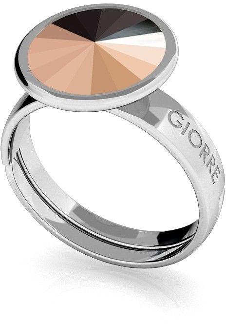 Srebrny pierścionek Swarovski rivoli 10mm, srebro 925 : Kryształy - kolor - Rose Gold, Srebro - kolor pokrycia - Pokrycie platyną
