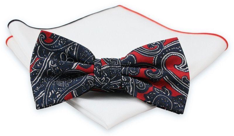 Ciemna Granatowa Mucha z Białą Poszetką -CHATTIER- Męska, w Czerwony Wzór Paisley, Orientalna MUCH0513