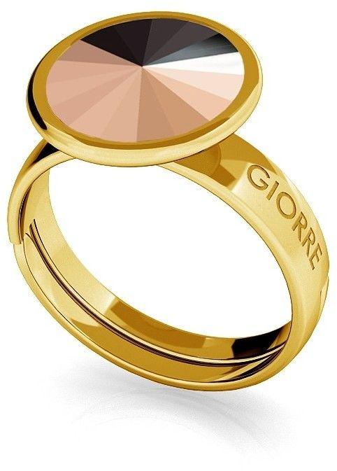Srebrny pierścionek Swarovski rivoli 10mm, srebro 925 : Srebro - kolor pokrycia - Pokrycie żółtym 18K złotem, SWAROVSKI - kolor kryształu - Rose Gold