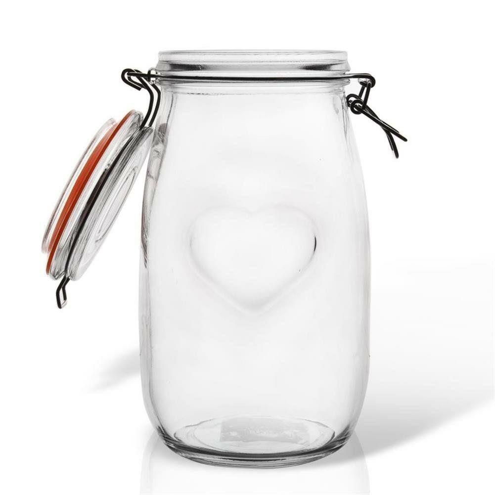 Słoik pojemnik szklany patentowy z klipsem BELA 1,5 l serce