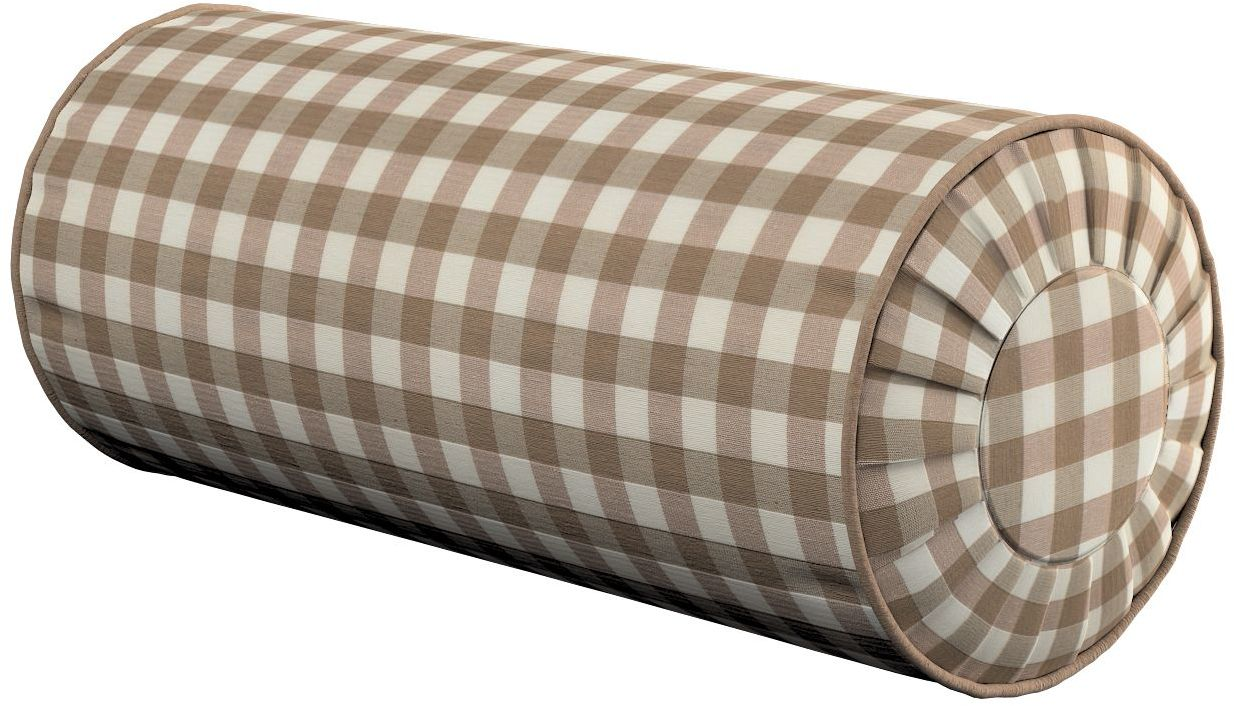 Poduszka wałek z zakładkami, beżowo biała kratka (1,5x1,5cm), Ø20  50 cm, Quadro