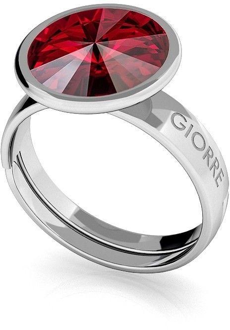 Srebrny pierścionek Swarovski rivoli 10mm, srebro 925 : Kryształy - kolor - Siam, Srebro - kolor pokrycia - Pokrycie platyną