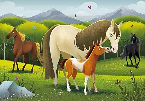 Clementoni 27527 ''Play for Future-Horses'' - 104 sztuki - puzzle dla dzieci w wieku 6-100% materiały z recyklingu-Made in Italy Cartoon Puzzle wielokolorowe