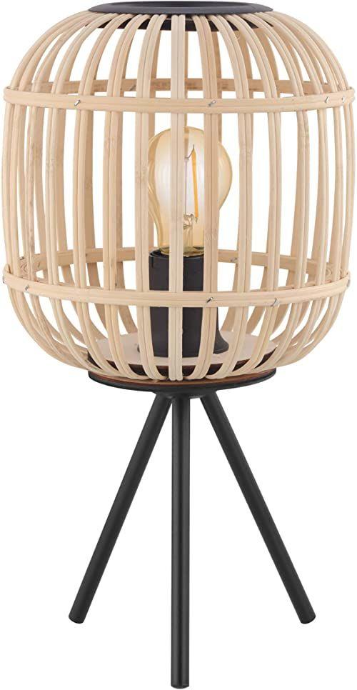 EGLO Bordesley, lampa stołowa w stylu vintage, naturalny, Boho, Hygge, lampka nocna ze stali w kolorze czarnym i drewna w kolorze naturalnym, lampa do salonu, lampa z przełącznikiem, oprawka E27