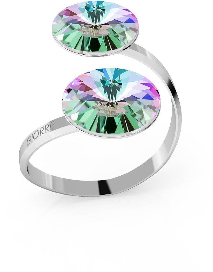 Srebrny pierścionek Swarovski rivoli 12mm, srebro 925 : Kryształy - kolor - Crystal VL, Srebro - kolor pokrycia - Pokrycie platyną