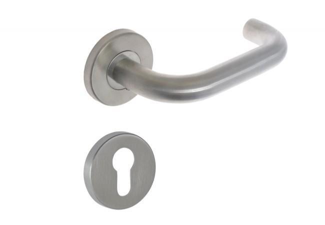 Klamka DORMA PURE 8100 p.poż kwadrat 8 mm. z tarczką okrągłą na wkładkę