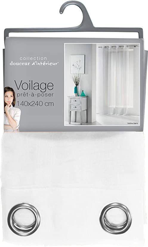 Douceur d''Interieur Pierścienie do zasłon 140 x 240 woal UNI Blanc