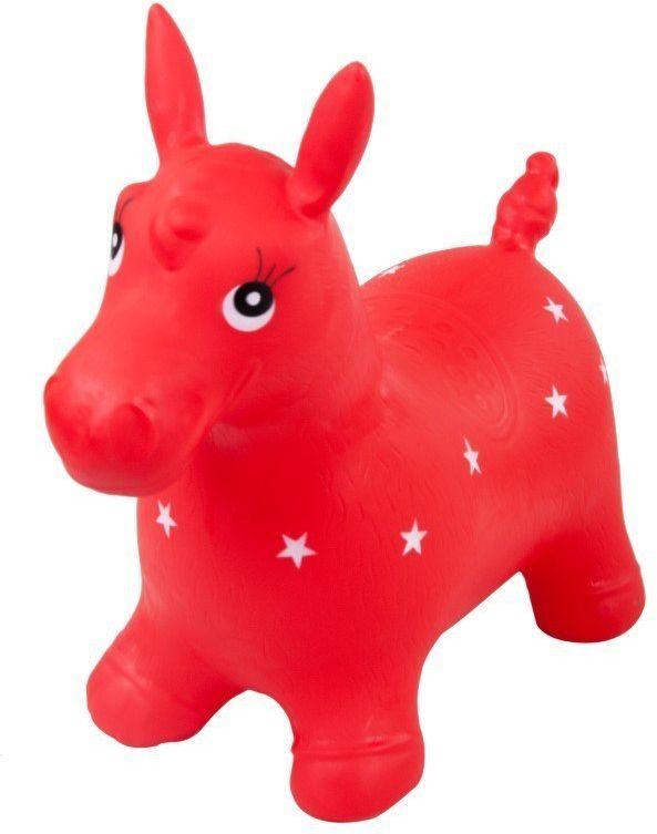Skoczek konik gumowy - czerwony w białe gwiazdki