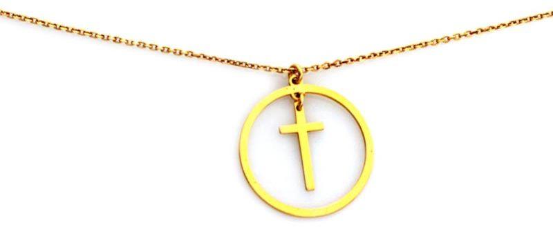 Srebrny pozłacany naszyjnik 925 krzyżyk wpisany w koło 1,83g