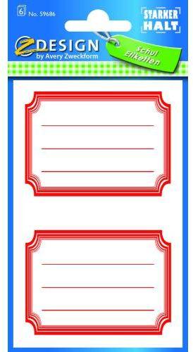 Naklejki na zeszyty i książki - czerwone ramki AVERY 59686