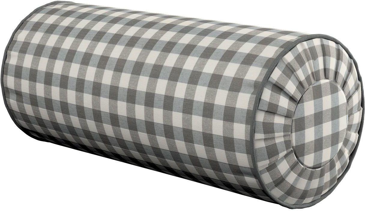 Poduszka wałek z zakładkami, szaro biała kratka (1,5x1,5cm), Ø20  50 cm, Quadro