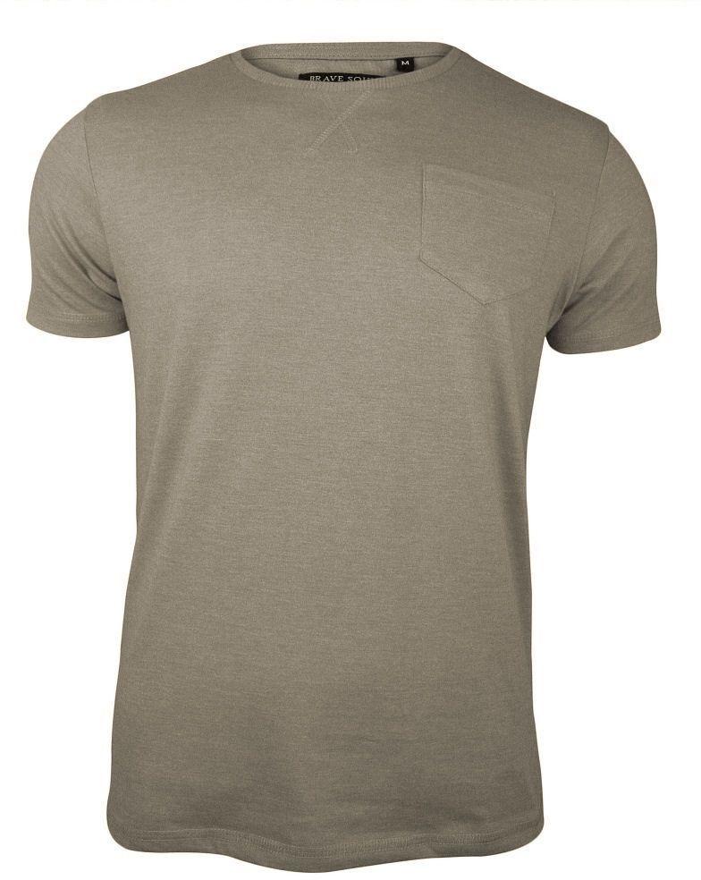 Beżowy T-Shirt (Koszulka) z Kieszonką, Bez Nadruku -Brave Soul- Męski, Okrągły Dekolt TSBRSSS20ARKHAMstone
